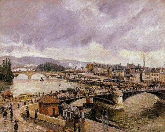Camille Pissaro : (The bridge 'Boieldieu' at Rouen in the rain) Le pont Boieldieu à Rouen sous la pluie