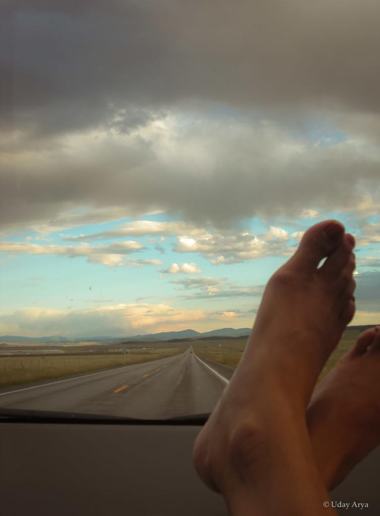 Feet up relaxing on a seemingly infinite highway :-)