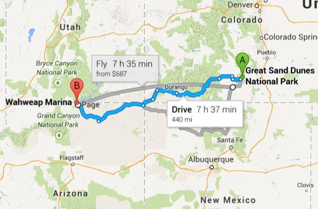 map great sand dunes to page arizona